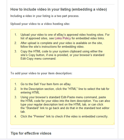 Screenshot of eBay's embedded video procedure