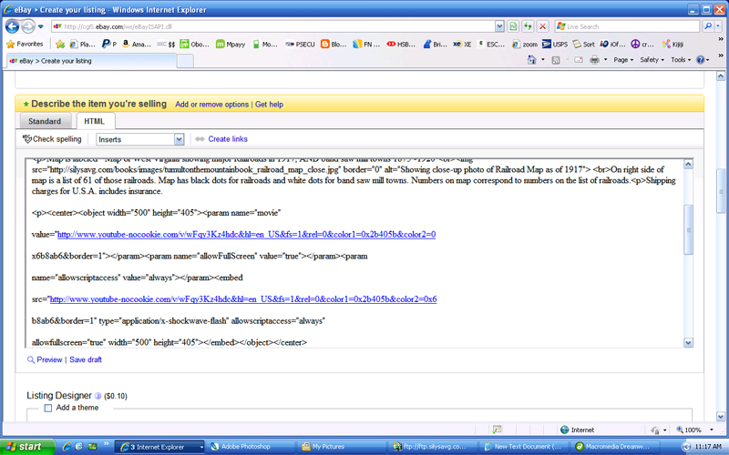 Screenshot of the Embed Code that has been pasted to the eBay item description window