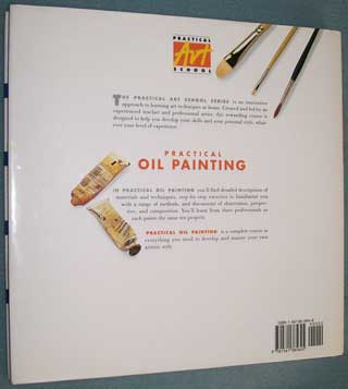 Photo of Hardcover book in dust jacket, Practical Oil Painting, Gerald Woods, rear cover