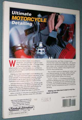 Photo of softcover book - Ultimate Motorcycle Detailing by David H. Jacobs, Jr., rear cover