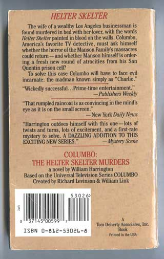 Photo of paperback book The Helter Skelter Murders, William Harrington, rear cover