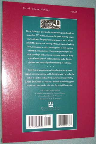 Photo of softcover book North America's Greatest Big Game Lodges and Outfitters by John Ross and Jay Cassell, rear cover.