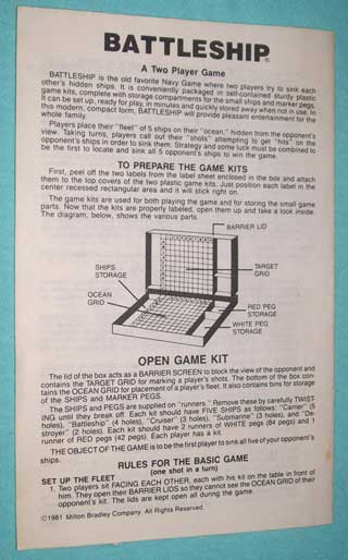 Photo of Battleship Game Part - Rulebook