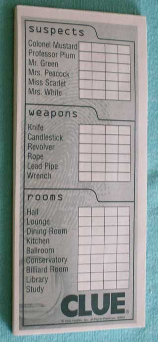 Photo of Green Detective Note Pad game part for Hasbro Clue / Cluedo Murder Mystery Game