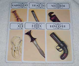 Photo of Murder Weapons Card Set for Hasbro Clue / Cluedo Murder Mystery Game