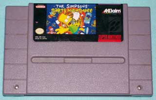 Photo of SNES Game Cartridge - The Simpsons - Bart's Nightmare - Super Nintendo ( Acclaim entertainment )