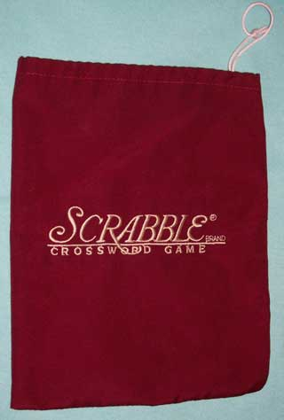 Photo of Scrabble Letter Pouch / Bag, Maroon, White Embroidery, Used, Very good condition