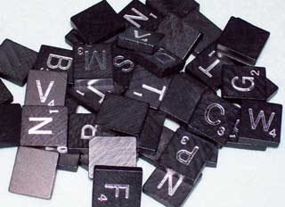 Photo of Black Diamond Scrabble letters - consonant tiles.