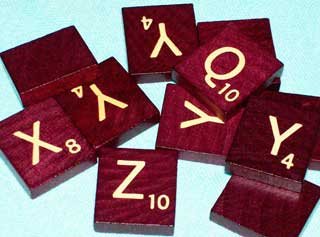 Photo of Deluxe Maroon Consonant Scrabble Letters
