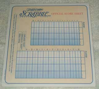 Photo of Deluxe Scrabble Score Sheets - one dozen.