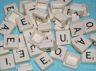 Photo of Parker Brothers / Hasbro Folio Travel Scrabble Vowel Letter Replacements, choice of A, E, I, O, U