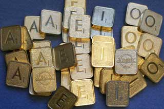 Photo of Franklin Mint Scrabble - Collector's Edition 24kt Gold Plated Letter Tiles - By the Piece - Choice of A, E, I or O