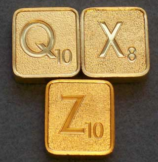 Photo of Franklin Mint Scrabble - Collector's Edition 24kt Gold Plated Letter Tiles - By the Piece - Choice of Q, X, or Z