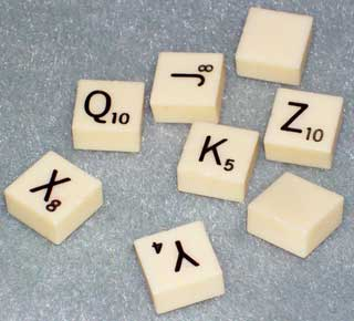 Photo sample of Vintage Magnetic Travel Scrabble Bonus Letter Replacements, choice of Q, X, Y, Z, or Blank