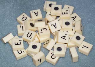Photo sample of Vintage Magnetic Travel Scrabble Letter Replacements, choice of A, E, I, O, U