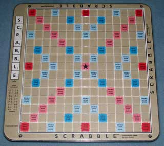 Photo of Deluxe Lazy Susan Scrabble Board - Brown, playing surface