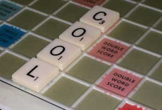 Photo of Close-up of Felt Based Scrabble Board