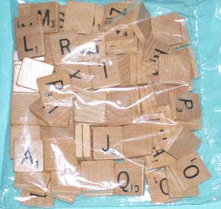 Photo of a Complete Set of New, Regular Wood, Scrabble Letters