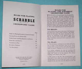 Photo of Scrabble Rulebook for Deluxe Games, inside view