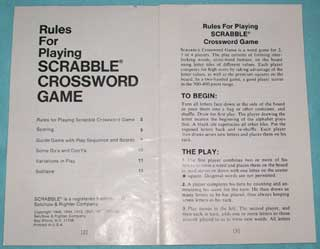 Photo of Scrabble Rulebook for Regular Games, inside view