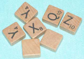 Photo of Travel Scrabble Bonus Letter Replacements, choice of Q, X, Y, Z, or Blank