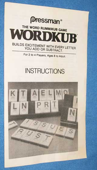 Photo of a Wordkub Rulebook game piece.