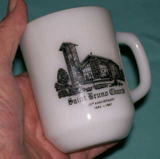 Photo of Anchor Hocking Advertising Coffee Cup - Saint Bruno Church 25th Anniversary - 1962 - 1987 - held