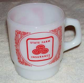 Photo of Anchor Hocking Advertising Coffee Cup - State Farm Insurance - Like a Good Neighbor State Farm Is There - left side