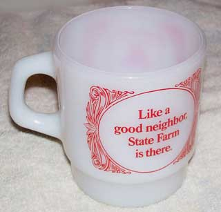 Photo of Anchor Hocking Advertising Coffee Cup - State Farm Insurance - Like a Good Neighbor State Farm Is There - right side