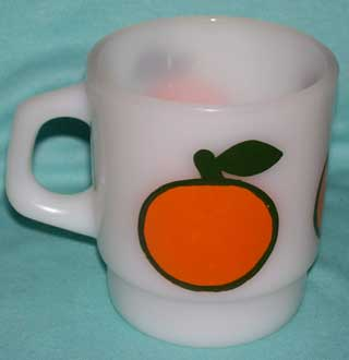 Photo of a Anchor Hocking - Fire King Coffee Cup - super Fruit - Orange, handle left