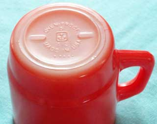 Photo of a Anchor Hocking Red Stackable Coffee Cup - bottom