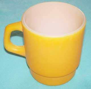 Photo of Fire King Stackable Yellow Coffee Cup - right side