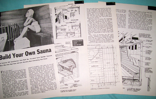 Photo of plans for a Finnish Heat Bathing Sauna. High heat - low Humidity