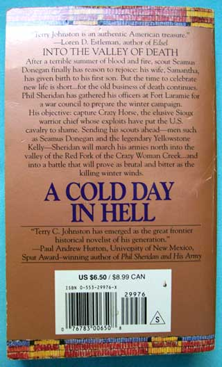 A Cold Day In Hell, Terry C. Johnston, rear