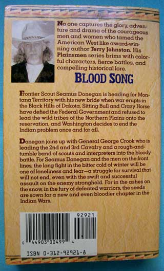 Blood Song, Terry C. Johnston, rear