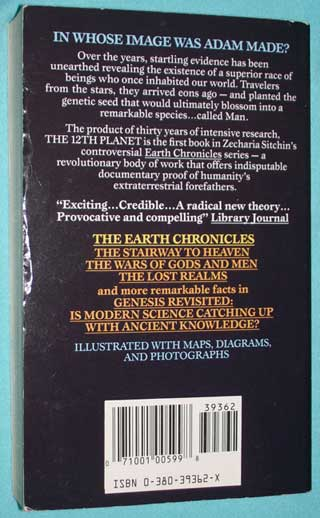 Photo of The Twelfth Planet by Zecharia Sitchin, Paperback, rear cover.