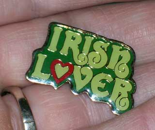 Photo of Irish Lover Pin - Costume Jewelry, held, used.