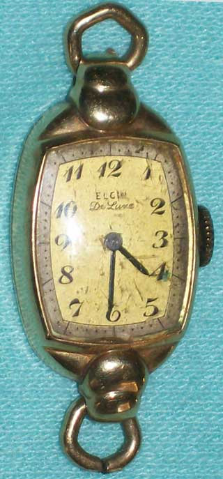 Photo of the front of Elgin Deluxe vintage lady's wrist watch.