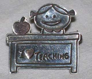 Photo of ' I Love Teaching ' Sterling Silver Pin - Mexico .925.