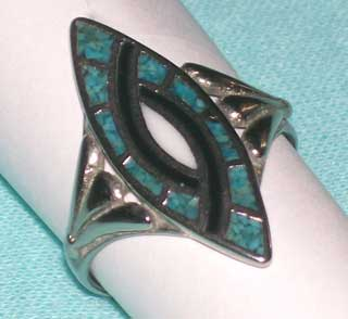 Photo of Vintage Silver Ring, size 11, with Turquoise, Black Onyx and Mother of Pearl inlays.