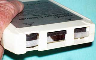 Photo of memorex 8 track Head and Capstan Cleaner tape cartridge, front end