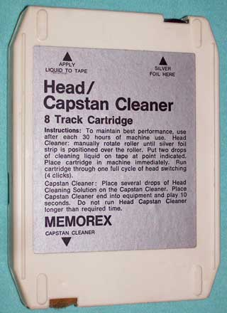 Photo of memorex 8 track Head and Capstan Cleaner tape cartridge, face