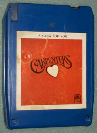 Photo of the front of an eight track quadraphonic tape cartridge - Carpenters, A Song For You