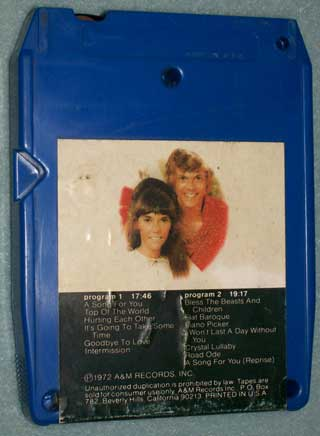 Photo of the rear of an eight track quadraphonic tape cartridge - Carpenters, A Song For You