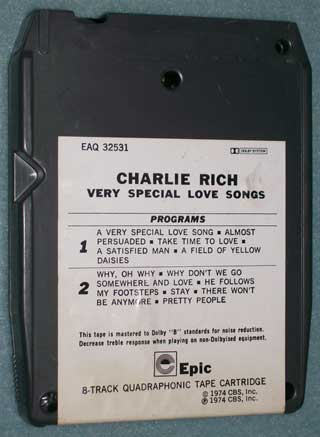 Photo of 8 track tape cartridge, Charlie Rich - Very Special Love Songs, rear