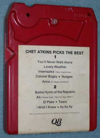 Photo of 8 track tape cartridge, Chet Atkins - Picks The Best, rear