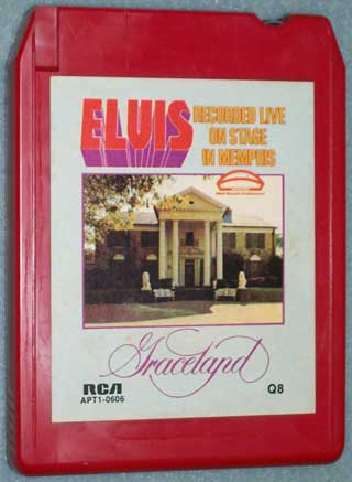 Photo of eight track quadraphonic tape cartridge - Elvis, Graceland - Recorded Live On Stage In Memphis, front