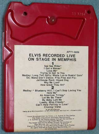 Photo of eight track quadraphonic tape cartridge - Elvis, Graceland - Recorded Live On Stage In Memphis, rear