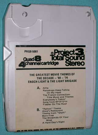 Photo of eight track quadraphonic tape cartridge - Greatest Movie Themes of the Decade, Enoch Light and the Light Brigade, 1964 to 1974 - rear