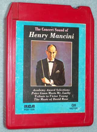 Photo of the front of an eight track quadraphonic tape cartridge - The Concert Sound of Henry Mancini